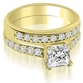 1.15 cttw. 14K Yellow Gold Cathedral Princess Cut Diamond Bridal Set - Thumbnail 0