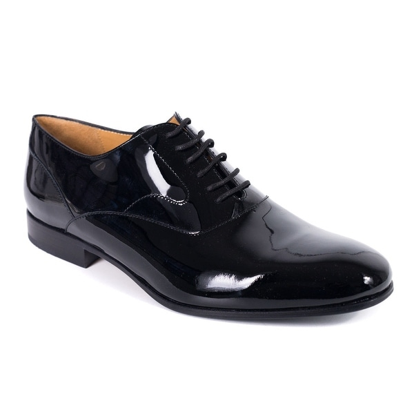 Valentino Mens Black Patent Leather Lace Up Derby Oxfords