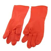 Unique Bargains Red Waterproof Kitchen Dish Washing Cleaning Latex Rubber Long Gloves Pair