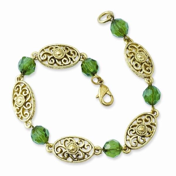 Brass Green Acrylic Beads Bracelet - 7.5in