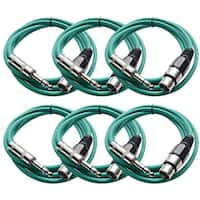 "Seismic Audio SEISMIC (6) Green 1/4"" TRS - XLR Female 6' Patch Cables"