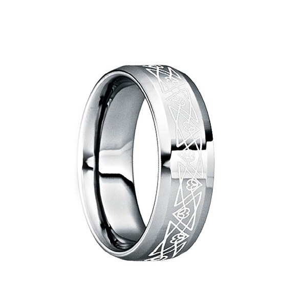 NONUS Engraved White Abstract Triangle Tungsten Ring with Polished Finish by Crown Ring - 6mm
