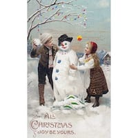 Christmas Joy Kids Snowman Vintage Holiday (100% Cotton Towel Absorbent)
