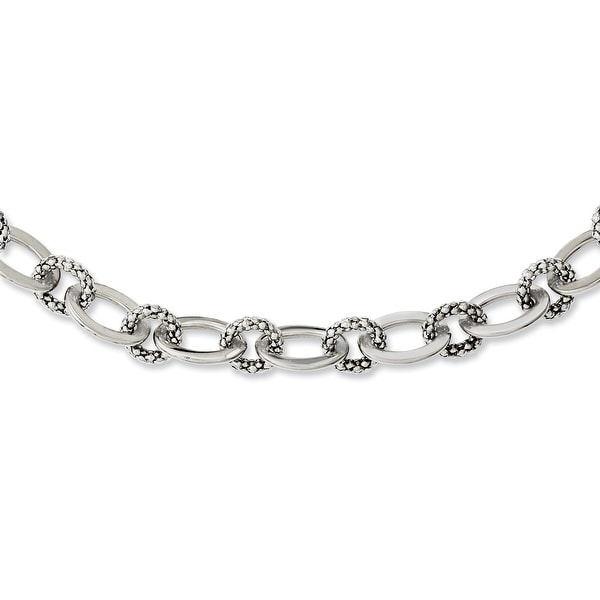 Chisel Stainless Steel Mesh Circles & Polished Ovals 20in Necklace (9 mm) - 20 in