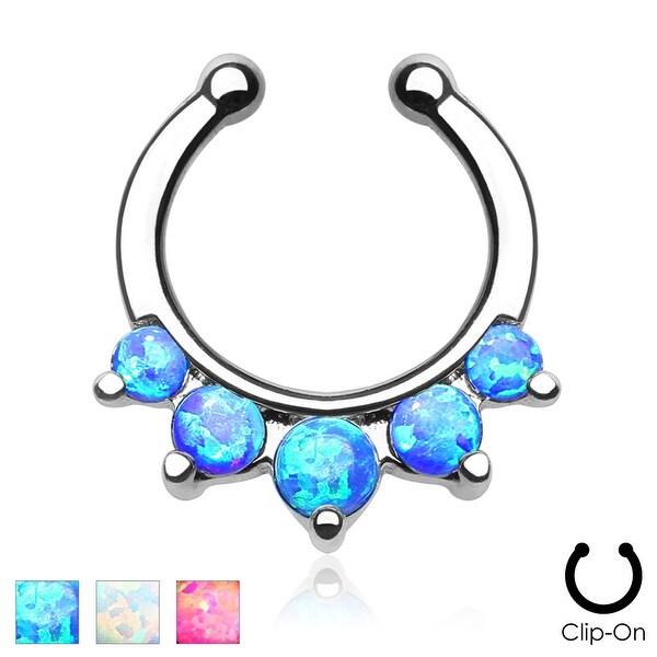 Five Paved Opal Gems Non-Piercing Septum Hanger (Sold Ind.)