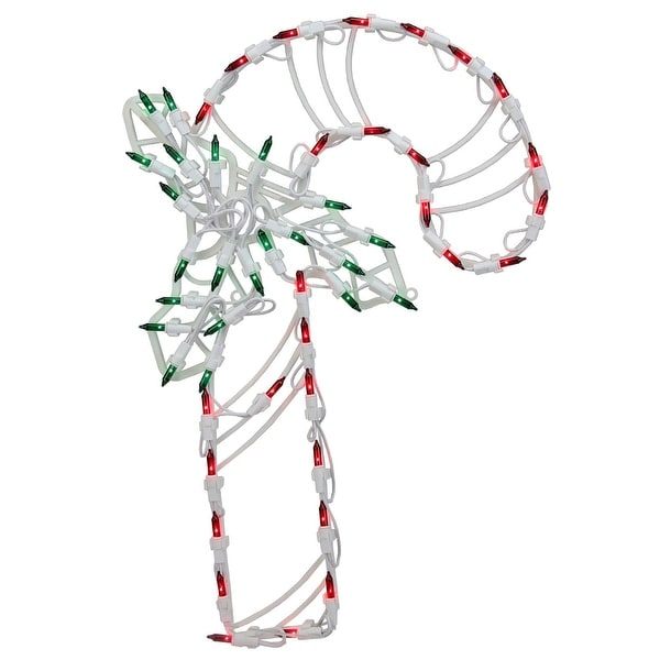 """18"""" LED Lighted Candy Cane Christmas Window Silhouette Decoration (Pack of 4)"""