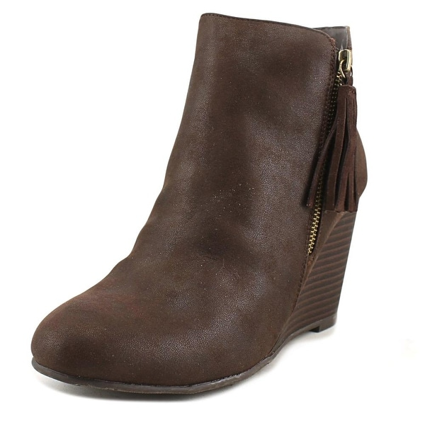 Mia Buckley Women Round Toe Leather Brown Ankle Boot