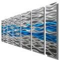 Statements2000 Aqua Blue / Silver Modern Abstract Metal Wall Art Painting by Jon Allen - Caliente Aqua - Thumbnail 5