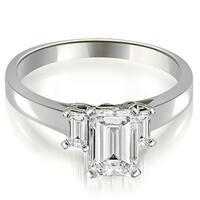 1.40 cttw. 14K White Gold Emerald Cut Three Stone Diamond Engagement Ring