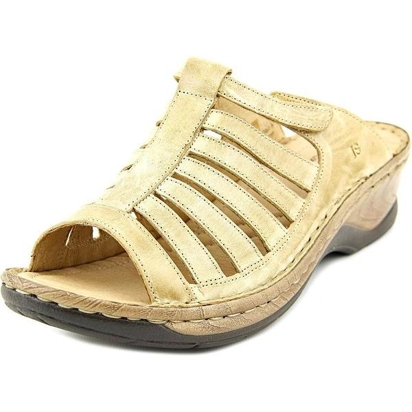 Josef Seibel Claudia Women Open Toe Leather Tan Slides Sandal