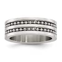 Stainless Steel 8mm Double Row Beaded Brushed & Polished Band