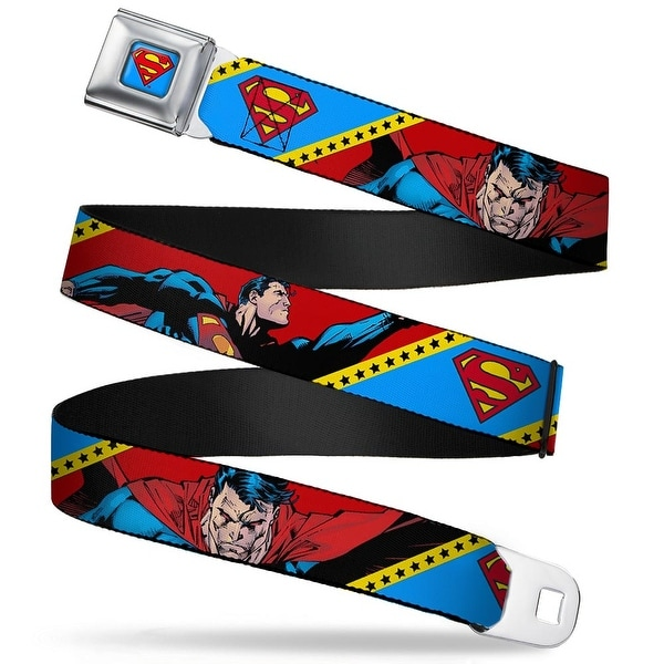 Superman Shield Full Color Bright Blue Red Yellow Superman Flying & Angry Seatbelt Belt