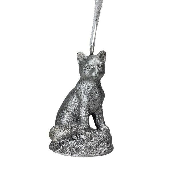 "3.5"" Silver Glittered Snow Fox Decorative Christmas Ornament"