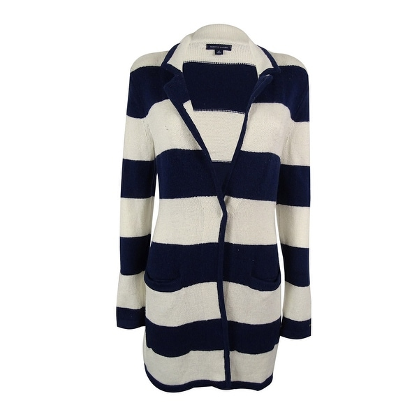 Tommy Hilfiger Women's Striped Single-Button Cardigan - peacoat