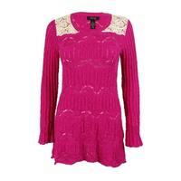 Style & Co. Women's Lace Trim Sweater - pink pinata