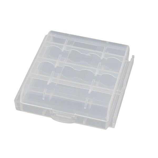 63mmx61mmx18mm Hard Plastic Battery Storage Case Holder Organizer Transparent
