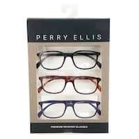 Perry Ellis Mens 3 Multi Pack Metal Reading Glasses +2.0 Blk/Dem/Blu PEBX30, Includes Perry Ellis Pouch - Black