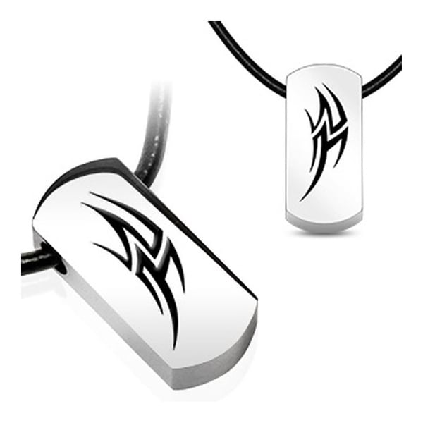 Stainless Steel Tag Pendant with Beveled Black Plated Tribal Thunder (15 mm Width)