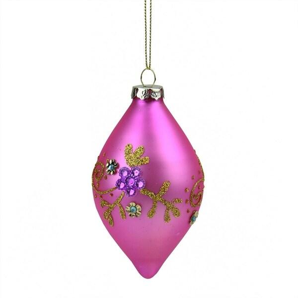 "4.75"" Matte Bubblegum Pink Floral Glittered Glass Finial Christmas Ornament"