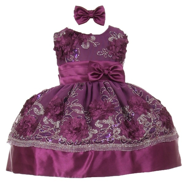 Baby Girls Violet Sequin Floral Embroidery Flower Girl Christmas Dress 3-24M