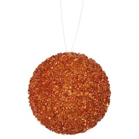 """6ct Orange Sequin and Glitter Drenched Christmas Ball Ornaments 3"""" (80mm)"""