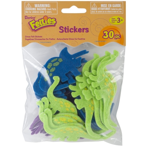 Felties Stickers 30/Pkg-Dinos