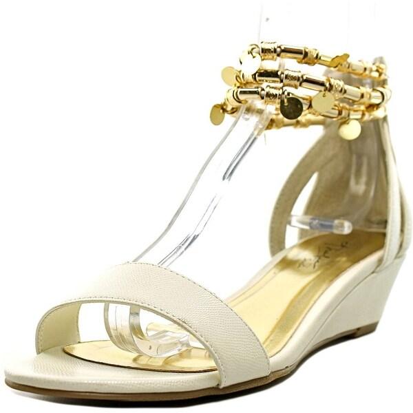 Thalia Sodi Lordes Women Open Toe Leather White Wedge Sandal