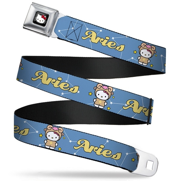 Hello Kitty W Red Bow Full Color Black Hello Kitty Zodiac Aries Webbing Seatbelt Belt