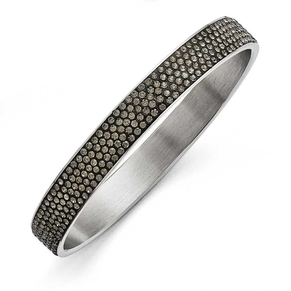 Chisel Stainless Steel Polished Black Enamel with Crystals Thin Flat Bangle