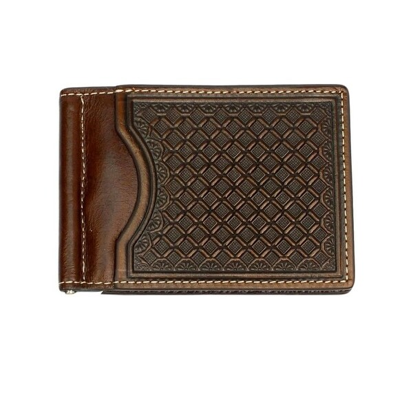Nocona Western Wallet Mens Money Clip Leather Chocolate