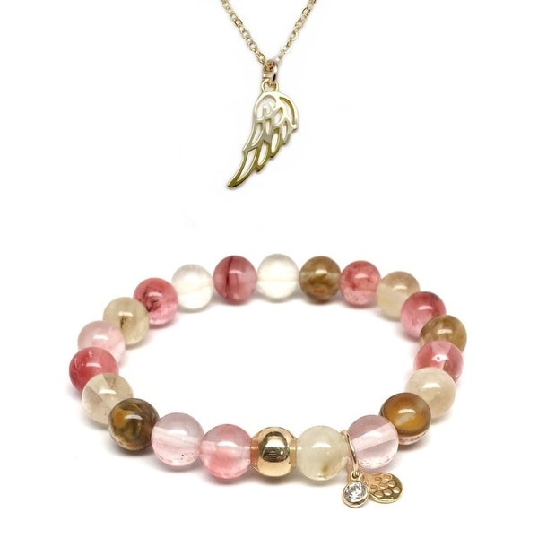 """Pink Cherry Quartz 7"""" Bracelet & Angel Wing Gold Charm Necklace Set"""