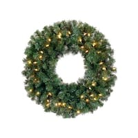 """24"""" Pre-Lit Deluxe Windsor Pine Artificial Christmas Wreath - Clear Lights"""