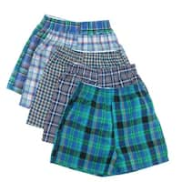 Fruit of the Loom Boy's Tartan Plaid Woven Boxer Underwear (Pack of 5)