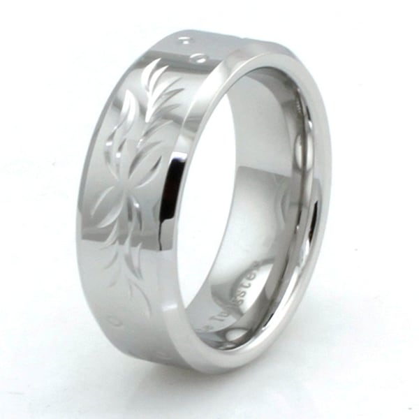 Hand Carved Polished White Tungsten Ring w/ Floral Pattern