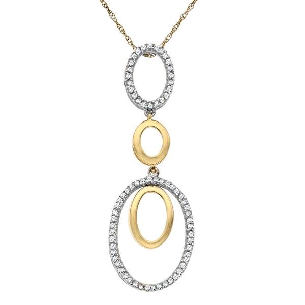 3/8 ct Diamond Circle Pendant in 14K White & Yellow Gold