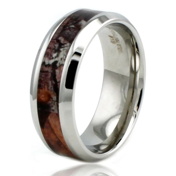 8mm Stainless Steel Camo Wood Design Inlay High Polish Ring w/ Beveled Edge