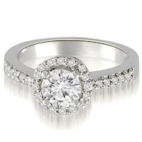 0.75 cttw. 14K White Gold Round Cut Diamond Halo Engagement Ring
