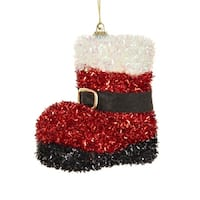 """4"""" Red and White Tinsel Santa Boot with Buckle Decorative Christmas Ornament"""