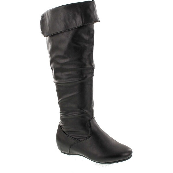 Fashion Focus Nancy-325 Women's Ruched Shaft V Opening Cut On The Top Flat Boots - Black