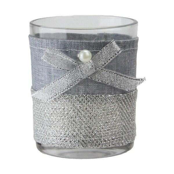 "3.25"" Denim Blue and Lace Tea Light Candle Holder Christmas Decoration"