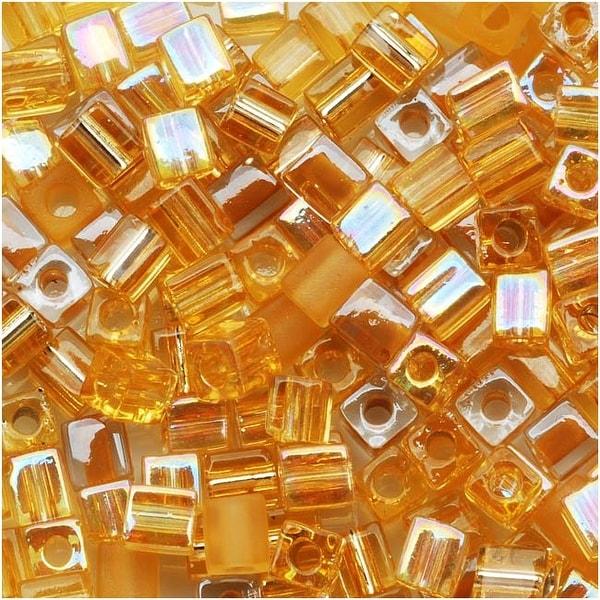 Miyuki 4mm Glass Cube Bead Mix 'Amber Gold Medley' 10 Grams