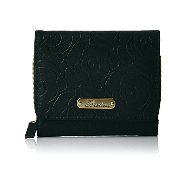 Buxton Womens Rose Garden Trifold Wallet Embossed Leather - o/s