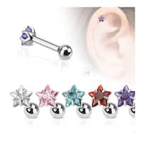 Star CZ Pronged Tragus/Cartilage Piercing Stud 316L Surgical Steel (Sold Ind.)