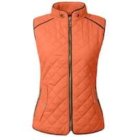 NE PEOPLE Womens Lightweight Quilted Zip Vest [NEWV60]