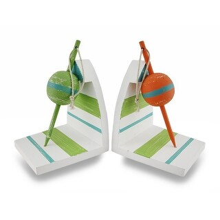 Wooden Orange and Green Nautical Floater Bookends Set of 2