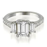 1.90 cttw. 14K White Gold Lucida Three-Stone Diamond Emerald Engagement Ring