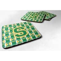 Carolines Treasures CJ1069-SFC Letter S Football Green & Gold Foam Coaster, Set of 4
