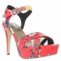 G by Guess Womens Cenikka Open Toe Ankle Strap Platform Pumps