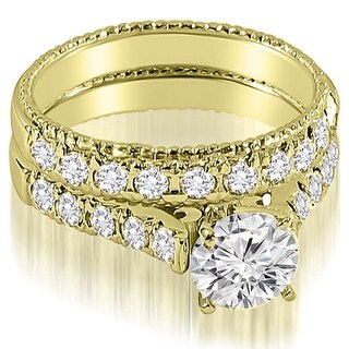 14kt Yellow Gold 1.50 CT.TW Vintage Cathedral Round Cut Diamond Bridal Set HI, SI1-2