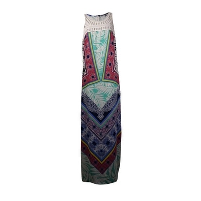 NY Collection Women's Crochet Top Printed Crepe Dress - Multi Print